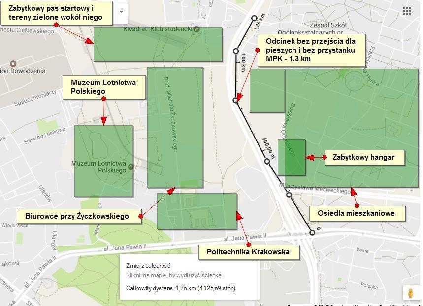 Mapa rozmieszczenia w Czyżynach uczelni, biurowców i osiedli mieszkaniowych