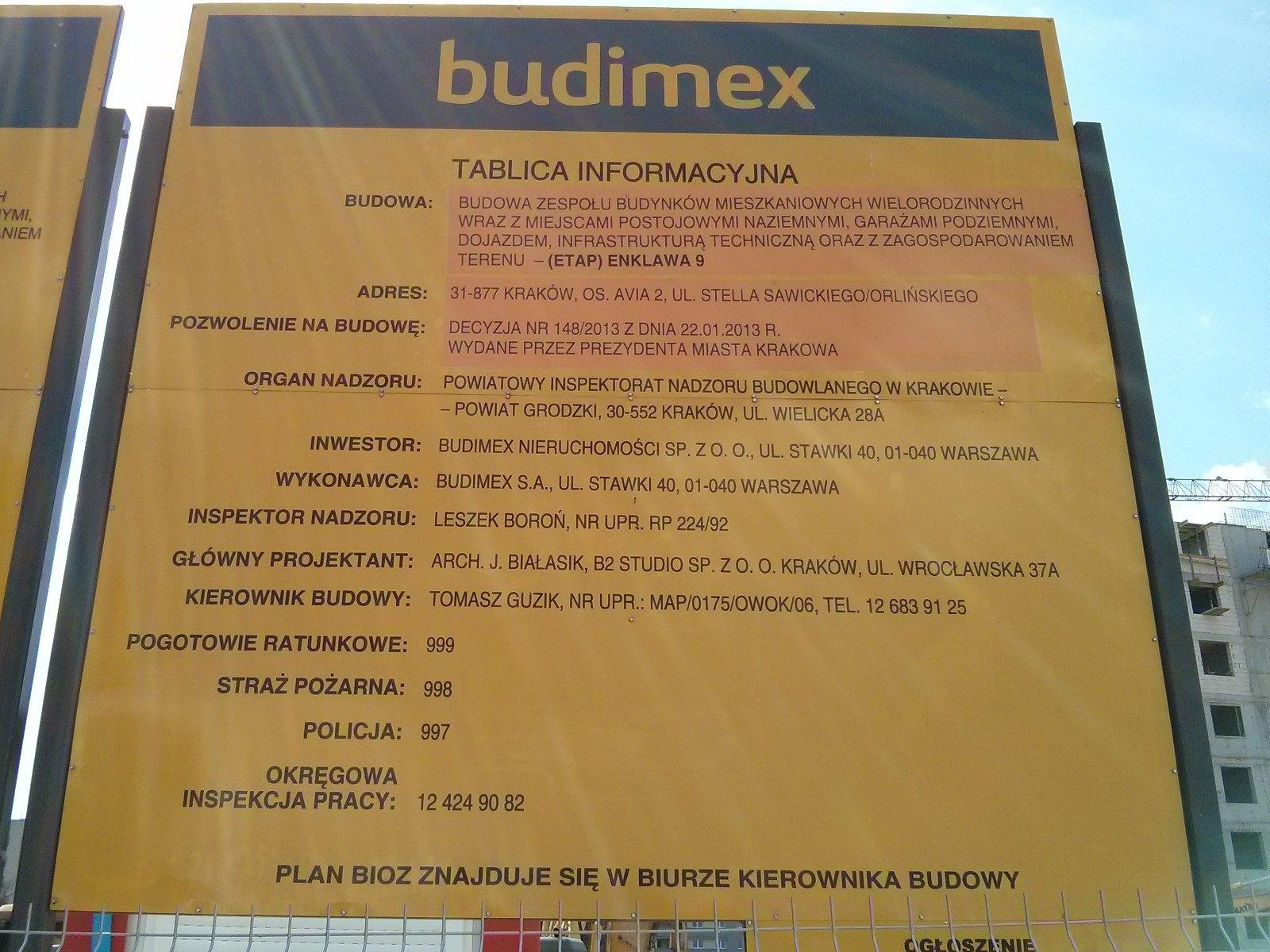 Budowa osiedla Avia w Czyżynach - tablica informacyjna