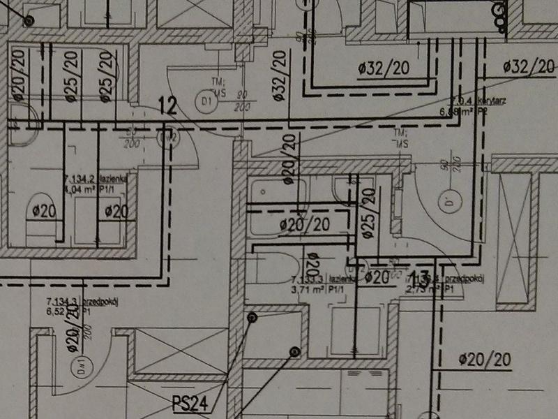 Rozkład i oznaczenia instalacji wodno-kanalizacyjnej