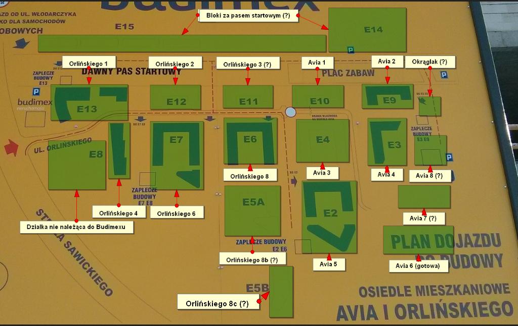 Mapa osiedla nowe Czyżyny z numerami budynków
