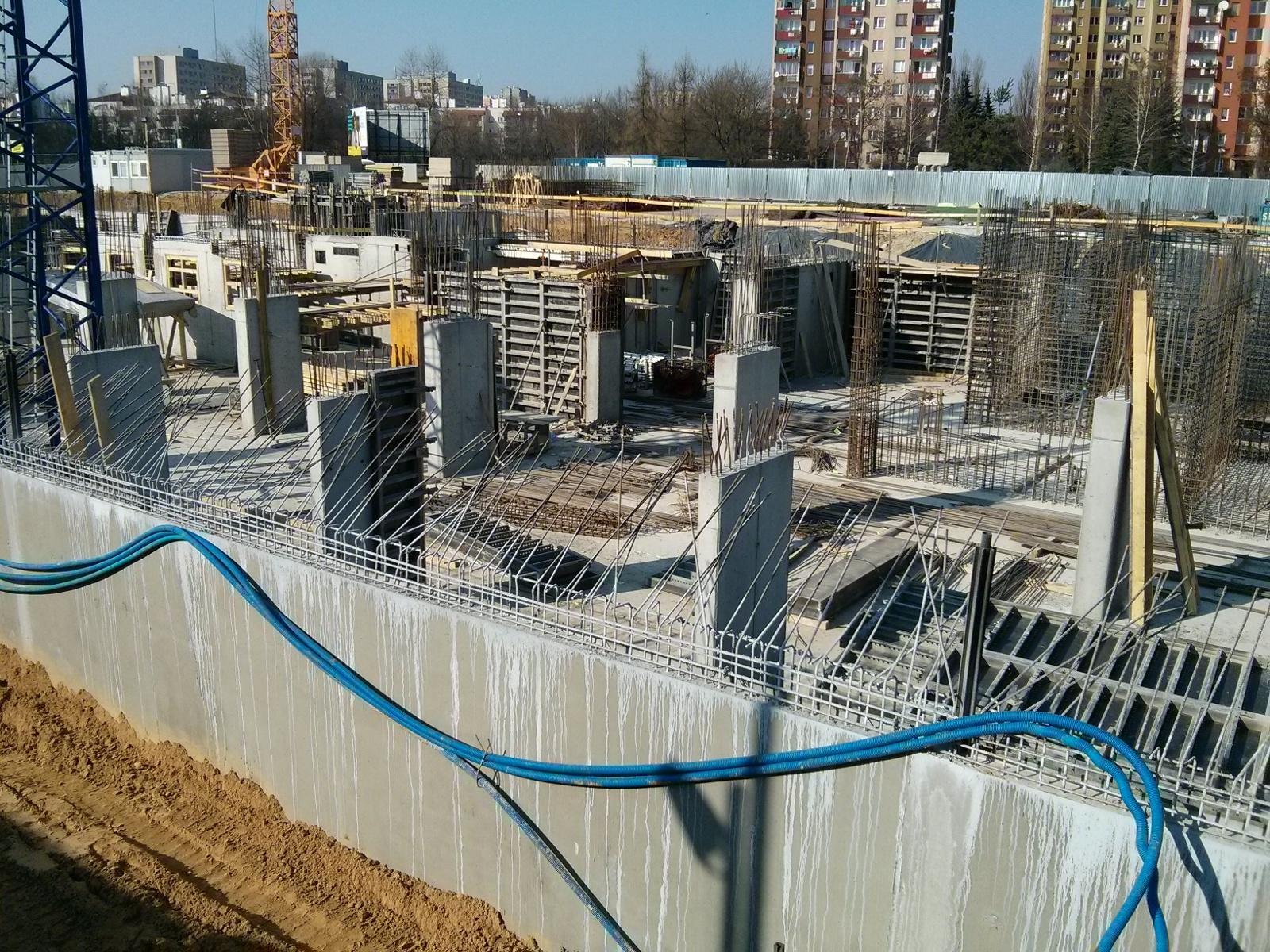 Budimex buduje kondygnację podziemną na Orlińskiego 1 - filary i ściany