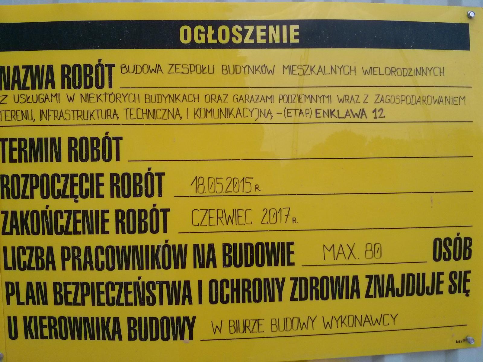 Tablica informacyjna na budowie inwestycji Orlińskiego 3 w Czyżynach