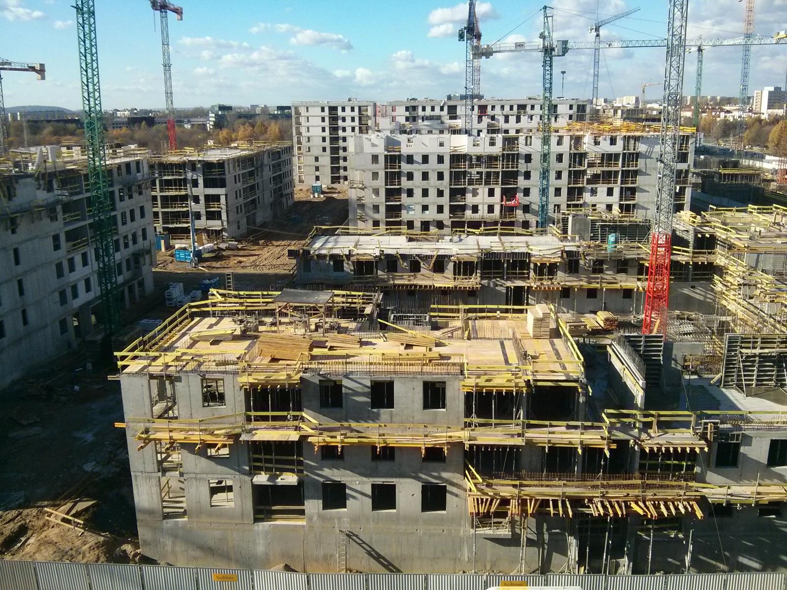 Osiedle nowe Czyżyny w Krakowie - zdjęcie z góry na Avię i Orlińskiego