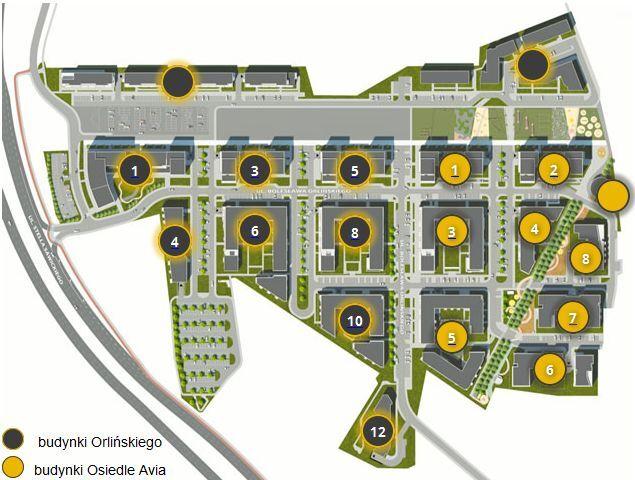 Plan rozkładu budynków na osiedlu nowe Czyżyny od Budimexu w Krakowie