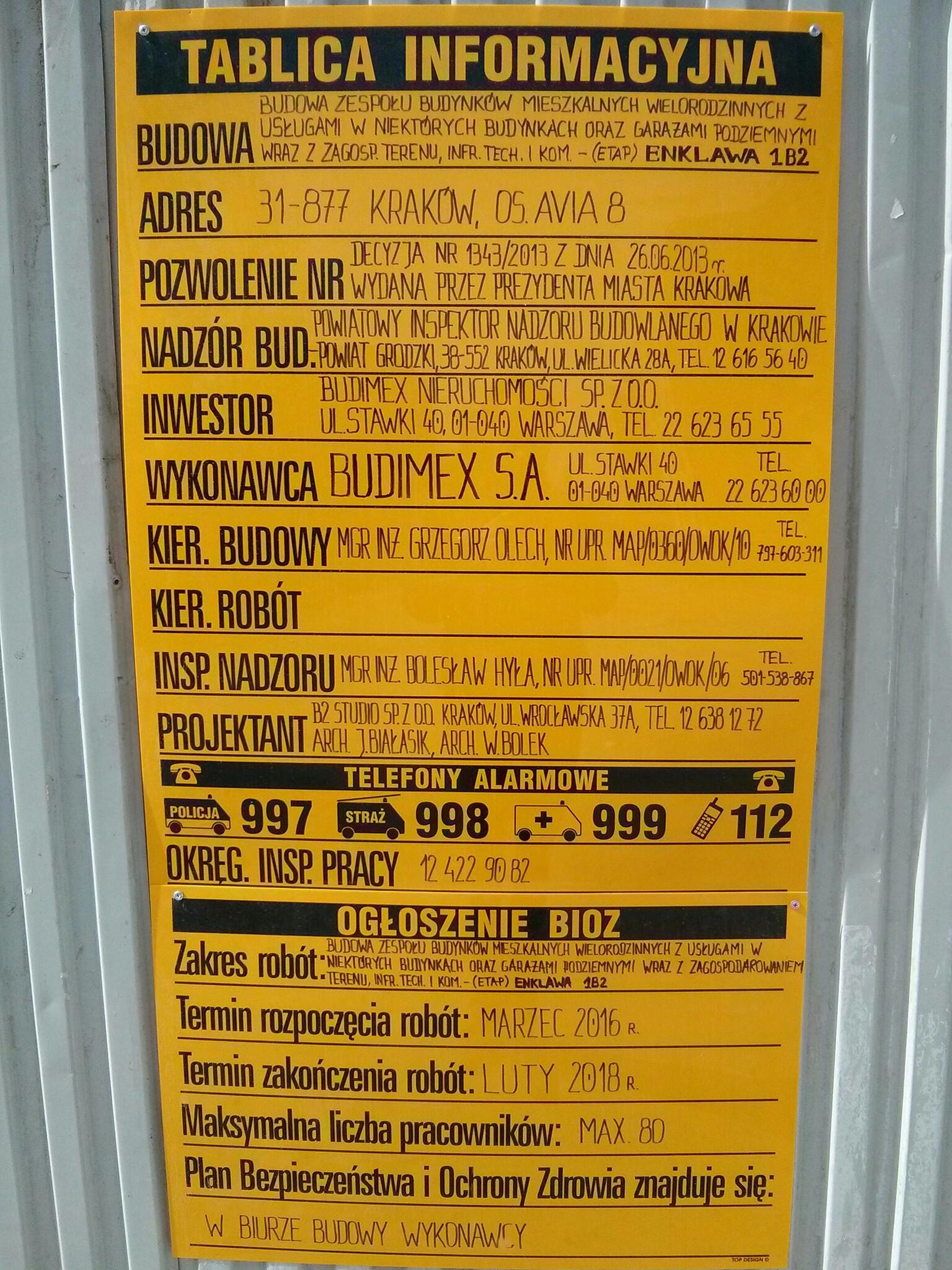Tablica informacyjna o budowie osiedla Avia 8 Budimex w Krakowie