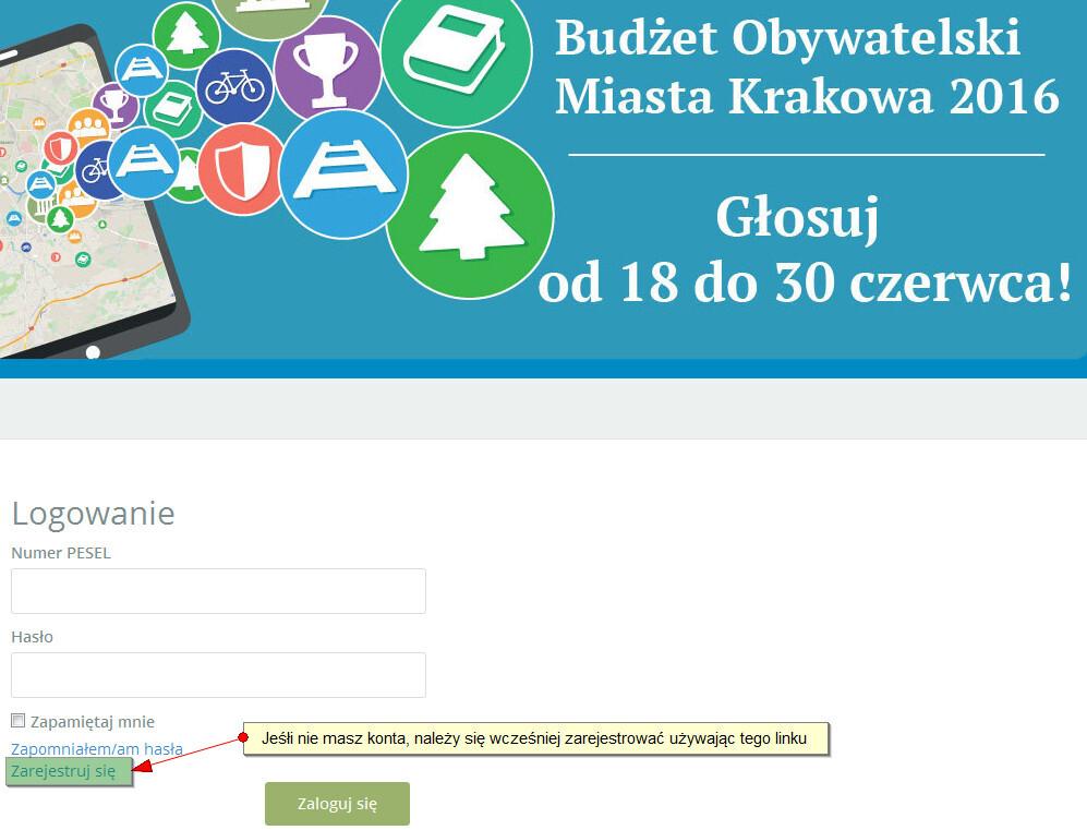 Krakowski budżet obywatelski - strona logowania do głosowania