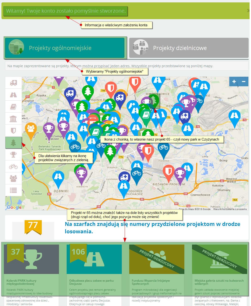 Jak wyszukać projekt w budżecie obywatelskim miasta Krakowa