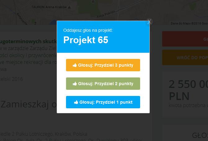 Przydzielanie punktów w budżecie obywatelskim miasta Krakowa - nowe parki